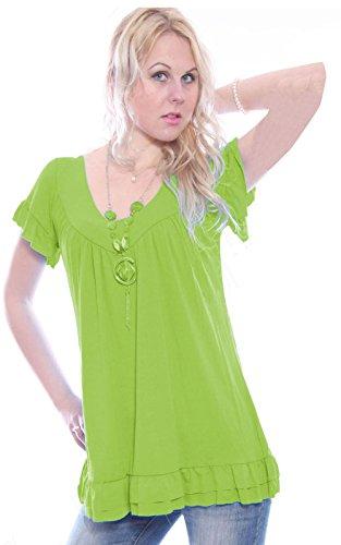 Camiseta suelta de manga corta con cuello en V para mujer, incluye colgante bohemio Jade Green