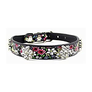 PETFAVORITES™ Rhinestone Dog Collar, Crystal Dog Birthday Jewelry, Flower Leather Cat Collar with Bling, Kitten Teacup Puppy Toy Yorkie Chihuahua Clothes Costume Accessories (Pattern B, Size S)