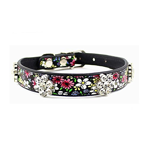 PETFAVORITES™ Rhinestone Dog Collar, Crystal Dog Birthday Jewelry, Flower Leather Cat Collar with Bling, Kitten Teacup Puppy Toy Yorkie Chihuahua Clothes Costume Accessories (Pattern B, Size M)