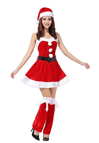 [YFFaye Women's Sexy Christmas Santa Claus Costume Party Red Dress Set] (Dark Magician Costumes Pattern)