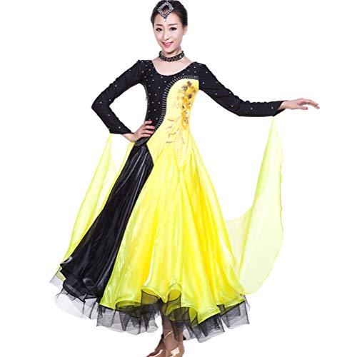 Ballo Competizione Valzer Spettacolo Danza Yellow Da Costume Di Donne Standard Vestito Flamenco Abiti Liscio Foxtrot Gonna pBqxa5