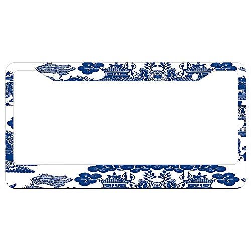 Blue Willow Chinoiserie Porcelain Inspiration License Plate Frames Black, Custom Aluminum for Auto Cars, Metal Car Front Tag Frame 2 Holes