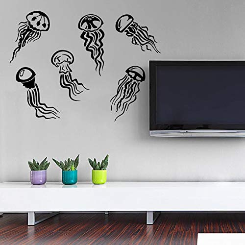 (saversshoppe Little Jellyfishes Deep Sea Scuba Ocean Home Kids Bedroom Fashion Decor Vinyl Wall Mural Marine Animal Series Wall Sticker)