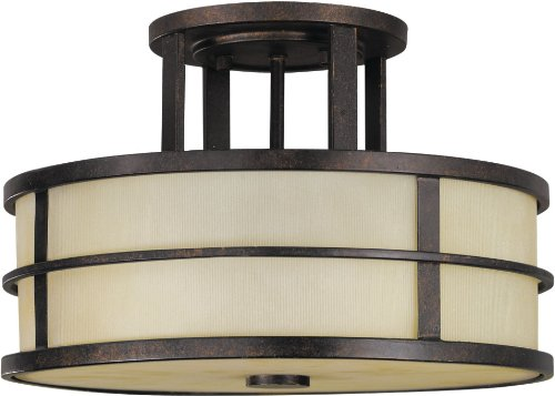 (Feiss SF217GBZ Fusion Glass Semi Flush Ceiling Lighting, Bronze, 3-Light (14