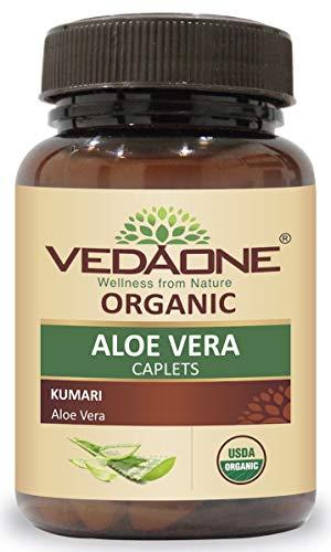 Organic Aloe Vera Caplet | 60 Caplets | 750mg Each (1 Month Supply) (Aloevera) - by VEDAONE