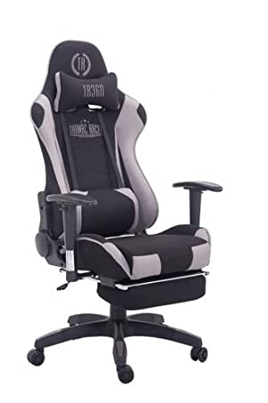 CLP Silla Gaming Turbo Tapizado de Tela I Silla Gamer Giratoria I Silla Racing Regulable en Altura I Silla Oficina con Reposapiés I Color: Negro/Negro: ...