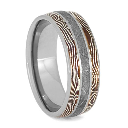 The Men's Jewelry Store (Unisex Jewelry) Gibeon Meteorite, Copper and Silver Mokume Gane 8mm Titanium Comfort-Fit Wedding Band, Size 12.75