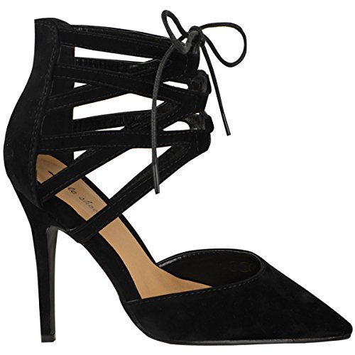 Fashion Thirsty Womens Lace Up High Heels Stilettos Pointed Closed Toe Court Pumps Shoes Size 7
