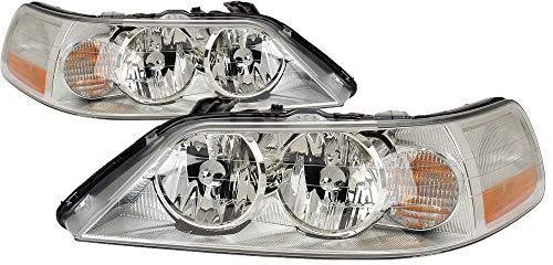 (For 2003 2004 Lincoln Town Car Headlight Headlamp Assembly Driver Left and Passenger Right Side Pair Set Replacement FO2502184 FO2503184)