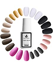 192pcs Colorful Nails Matte ,8 Solid Colors Fake Nails(8 Packs)+nail glue(1 bottle) Full Cover Medium Matte Solid Color Ballerina False Nail Art