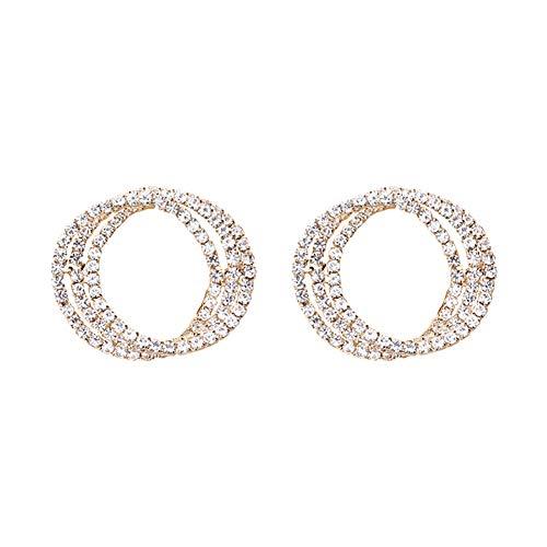 Fashion Earrings, gLoaSublim Fashion Women Hollow Triple Circle Rhinestone Inlaid Stud Earrings Jewelry Gift - Golden