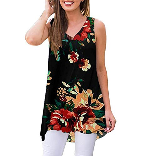 Women Tops Summer Sleeveless Print Blouse V-Neck T-Shirt Tunic Tops Blouse Shirts Black