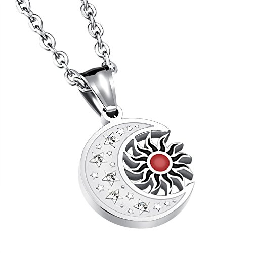 Necklace Crescent Moon and Sun Eclipse Ying Yang Charm Pendant ()