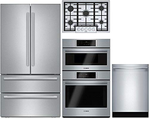"Bosch Bosch 4-Piece Stainless Steel Kitchen Package with B21CL81SNS 36"" French Door Refrigerator, NGM8056UC 30"" Gas Cooktop, HBL87M52UC 30"" Combo Wall Oven and SHXM78W55N 24"" Fully Integrated Dishwash"