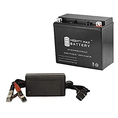 Mighty Max Battery YTX20L-BS Battery Replaces Odyssey PC545 Drycell + 12V 4Amp Charger Brand Product