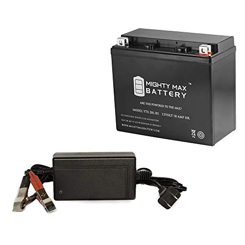 YTX20L-BS Battery for KAWASAKI KZ1000-E ST,SHAFT + 12V 4Amp Charger - Mighty Max Battery brand (Kawasaki Kz1000 Shaft)