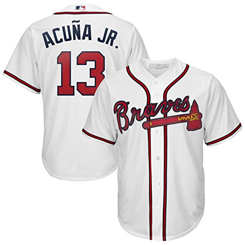 Men's Atlanta Braves Ronald Acuña Jr. White 2019 Home Cool Base Player Jersey