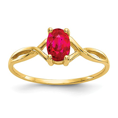 14k Yellow Gold Red Ruby Birthstone Band Ring Size 7.00 Stone July Oval Fine Jewelry Gifts For Women For Her