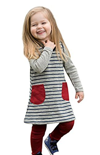 Silk Jumper (Little Girls Jumper Dress Tunic, 100% Organic Merino Wool, Sizes 3 months – 6 years (EU 110-116/4-6 years, Grey Navy Red))