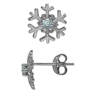 2.5MM Extra Petite Genuine Round Shape Blue Aquamarine 925 Sterling Silver Snowflake Stud Earrings