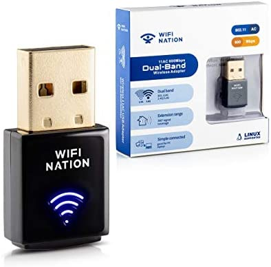 Mac OS Black Linux Mintata2019 Mini Wireless WiFi Adapter 600Mbps Dual Band USB 2.4G//5G WiFi Dongle Faster Chip Network Card for Win