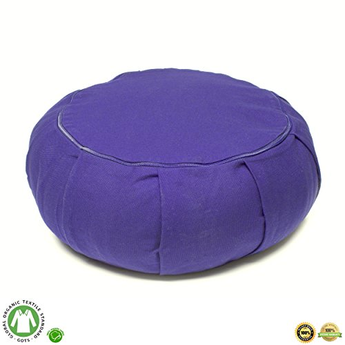 Seat Of Your Soul Buckwheat Hull Filled Yoga Meditation Cushion | Certified Organic Cotton | Removable Washable Cover | Carrying Handle | Choose Your Style and Color of Pillow