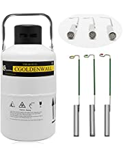 CGOLDENWALL Cryogenic Container Liquid Nitrogen Container LN2 Tank Dewar Liquid nitrogen dewar Aluminum Alloy with 3 Canisters and Carry Bag (Capacity : 2L)