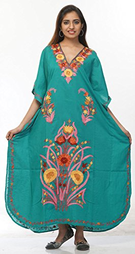 Creativegifts Cotton Kaftan Kashmiri Embroidered Maxi Long Dress for Women (color-2228)