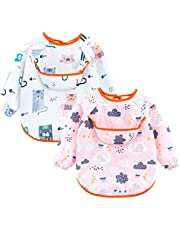 Happy Cherry Baby Bib Long Sleeve Waterproof Bib Smock Cute Cartoon Apron Bibs for Feeding Eating 2 Pack 0-5T