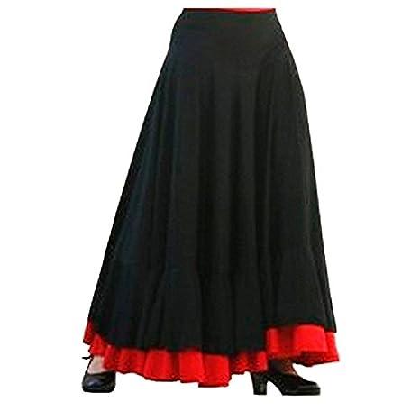 Falda Baile Flamenco Adulto Volante Rojo XL: Amazon.es: Juguetes y ...