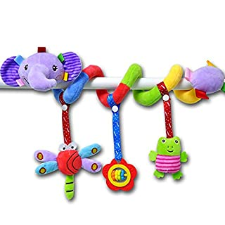 BIMOUR Baby Rattles Crib Stroller Toy for Babies 3 6 9 12 Months, Infant Activity Crib Hanging Toy Teether Rattles Toys Shape Design Spiral Stroller Plush Toys for Baby Boys Girls(Elephant)