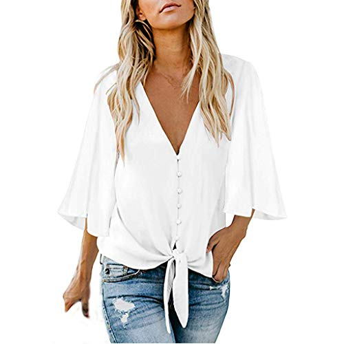 Yezijin Women's Casual Three Quarter Sleeve V Neck Button Top Patches Blouse Shirt Sexy Summer Tops 2019 White