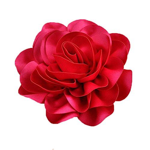 Queenestar Big Satin Flower Hair Clip For Women Red Blue Fabric Wedding Floral Headwear (Hot (Big Pink Hat)
