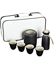 Japanese Style Wine Set, Wine Warmer and Hot Pot Ceramic, Outdoor Portable Travel Tea Set, Cold/Warm/Shochu/Tea, is The Best Gift for Family and Friends,A