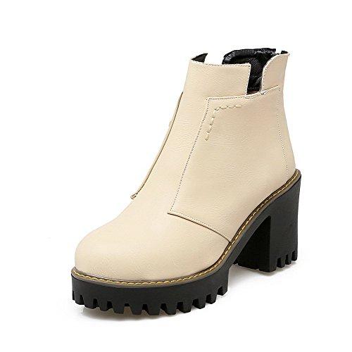 AgooLar Damen Hoher Absatz Rein Reißverschluss Kurz Velours Rund Zehe Stiefel Cremefarben