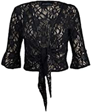 RIDDLED WITH STYLE Ladies Womens Front Open Lace Sequin Tie Up 3/4 Sleeve Bolero Shrug Casual Top