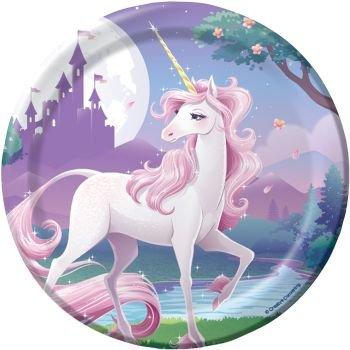 Creative Converting 415603 Unicorn Fantasy Cake/Dessert Plates, 8 Count - 6.875 Inch, Multicolor