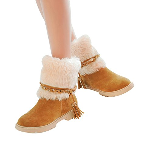Women's Suede Snow Heel Flat Boot Fashion Short Mostrin Water Boots Winter Resistant Yellow Faux Fur YwCqYd7