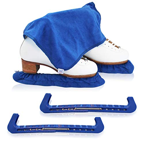 CRS Cross Skate Guards, Soakers & Towel Gift Set - Ice Skating Guards and Soft Skate Blade Covers for Figure Skating or Hockey (Blade Blue, Large)