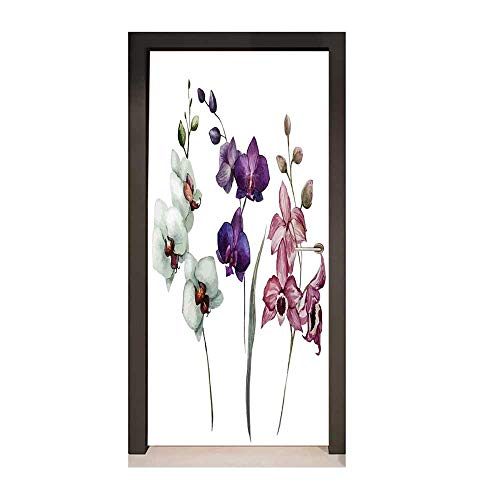 Watercolor Flower 3D Door Sticker Different Kind of Orchid Flower on Clear Background Exotic Blossoms Art for Home Decor White Pink Violet,W23.6xH78.7