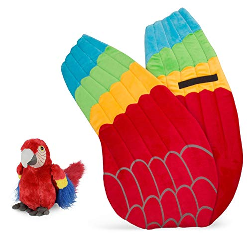 Wildlife Tree Plush Macaw Parrot Wings with Baby Stuffed Animal Plush Toy Parrot Bundle for Pretend Play Animals -