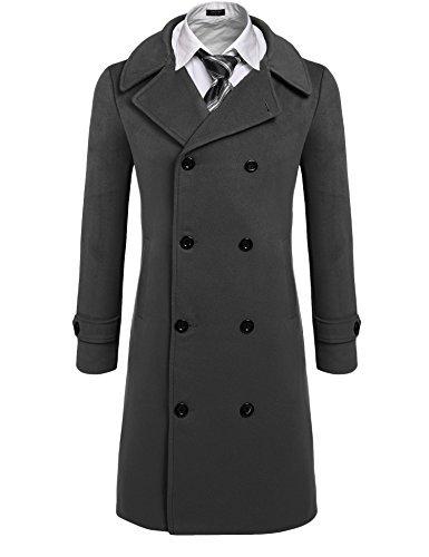 Coofandy Men's Trench Coat Winter Pea Coat Long Jacket Double Breasted Overcoat