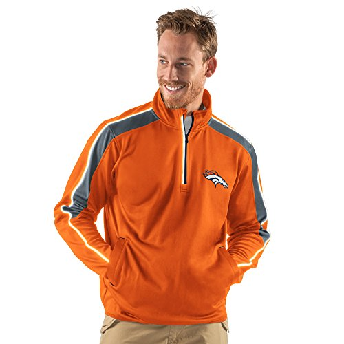 NFL Denver Broncos Men's Synergy Half Zip Pullover Jacket, Large, (Denver Broncos Nfl Uniform)