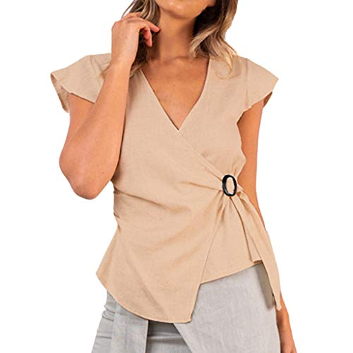 6a30558604 Women s Casual OL Vest T-Shirt Blouse Kimono Tops Solid Strappy Sleeveless  Buckle Irregular Hem