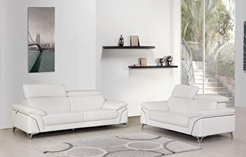 Blackjack Furniture 727-WHITE-2PC Regal Top Grain Italian Leather Sofa and Loveseat Living Room Set, 88