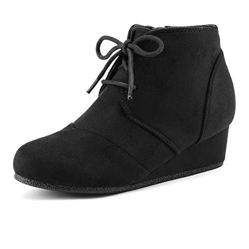 Girl Boot Shoes (DREAM PAIRS Big Kid Tomson-K Black Girl's Low Wedge Heel Booties Shoes - 4 M US Big)