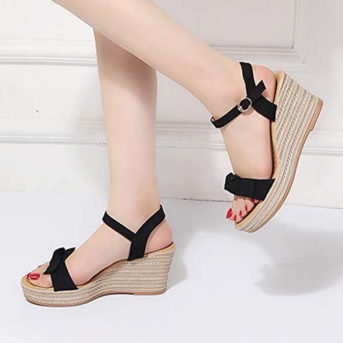 Femmes Épais Sandales Mode Femmes D'été Coins noir Chaussures Zolimx Armure De Boucle Noir Femmes Romain Ceinture PqXEH