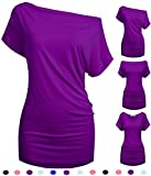 Women One Shoulder Tunic Tops for Leggings Convertible Ladies Blouse Purple M