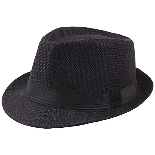 BABEYOND 1920s Panama Fedora Hat Cap for Men Gatsby Hat for Men 1920s Mens Gatsby Costume Accessories (Black) ()