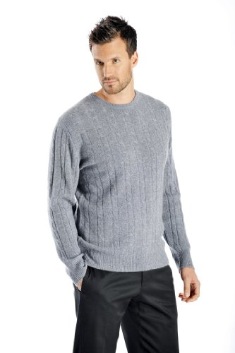 Sweater Cable Cashmere (Men's Cable Cashmere Sweater (Faded Pewter, Medium))